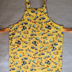 Handmade yellow construction kids apron