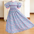 381 Hand-smocked cotton dress, age 5 to 6, multicoloured wildflowers