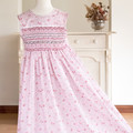 361 Hand-smocked polycotton dress, age 7 to 8, detailed floral print
