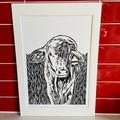 Australian Farm Animals - Droughtmaster Calf - Linoprint