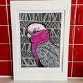 Australian Birds - Pink Galah 5/5 -  Linoprint - Watercolour