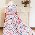 277 Hand-smocked cotton sleeveless dress for age 6-7, wrap-around skirt