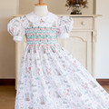 305 Hand-smocked cotton dress, age 5-6, woodland animals in pastel colours