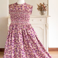 362 Hand-smocked cotton sleeveless dress, age 10 to 12, floral design
