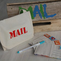 Postcard game - fabric postcards, stamps and pen in mail bag