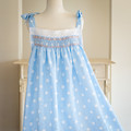 358 Hand-smocked blue and white embroidered cotton women's nightdress