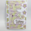 Baby Card - Mauve and Green with Pram