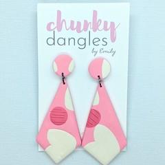 Polymer Clay Marshmallows Stud Dangle Earrings