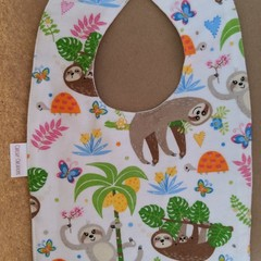 White Sloths handmade baby bib
