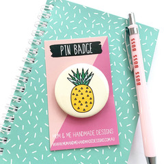 Pineapple Button Badge, Pineapple Pin Badge, Metal Pin Button - BGE011