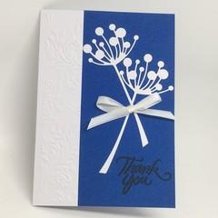 Thank You Card - White Chloe stems on Blue