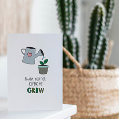 Mothers Day Card,Thank You for helping me grow, Card for Mum, HMD020