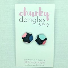 Polymer Clay Spotty Black Small Statement Stud Earrings