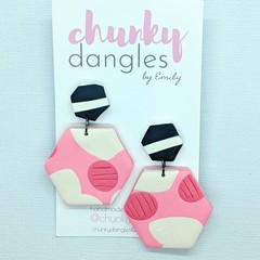 Polymer Clay Marshmallows and Smudge Stripe Hexi Stud Dangle Earrings