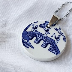 Blue Willow Bridge Scene pendant