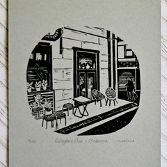 Melbourne Laneway Lino Cut Print / Gallaghers Place / Hand Printed