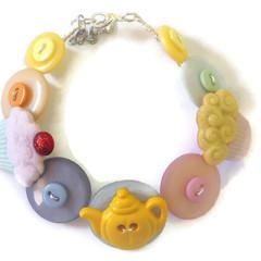Novelty button bracelet - Tea Party