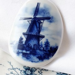 Dutch Blue Delft Windmill Brooch