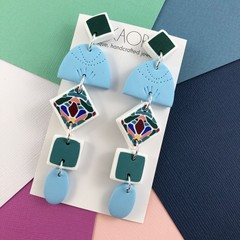 Polymer clay earrings, statement earrings in jade green, pink, blue, white tiles