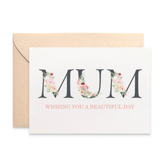 Card for Mum, Floral Mum, Happy Mother's Day Card, HMD019