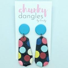 Polymer Clay Black Spotty Stud Dangle Earrings