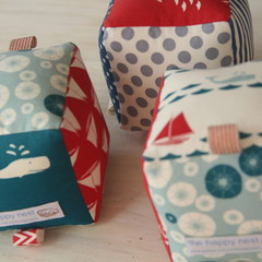 Sensory Rattle Blocks - set of three - anchors, boats, whales, nautical, ocean