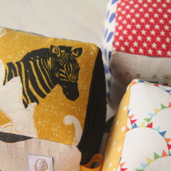 Sensory Rattle Blocks - set of three - mustard, zebras, linen, text