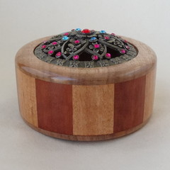 Potpuiri container - Trinket box- Multi wood 12 sided  turned box  with lid.