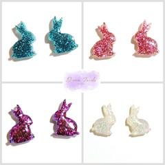 Glitter bunny studs