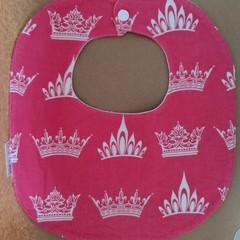 Pink crowns handmade baby bib