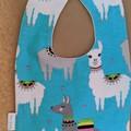 Blue llamas handmade baby bib