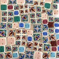 Polymer clay earrings, statement earrings in jade green, pink, blue, white tiles