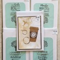 Handstamped Card 5 pack coffee theme