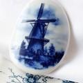 Dutch Blue Delft Windmill Brooch