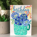 Birthday Wishes (Blue Floral)