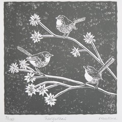 Fairywren Original Lino Cut Print / Australian Bird Print / Original Artwork