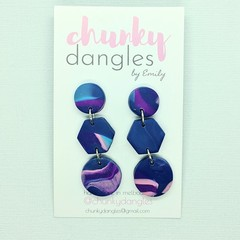 Polymer Clay Marbled Blues Hexi and Spots Stud Dangle Earrings