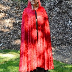 Medium Length Bright Red Velour Cloak