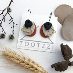 TEXTURE Hoops (Terracotta + Sandstone + Black) Interchangable Statement Dangles