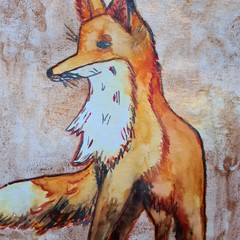 Original authentic watercolour of Fox with metallic highlights