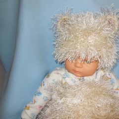 Teddy Bear Cocoon/Swaddle Sack and Beanie New Born