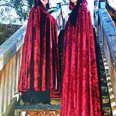 Medium Length Dark Red Velour Cloak