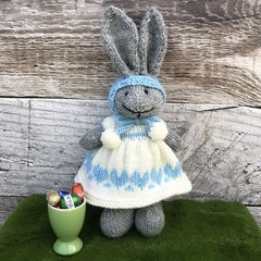 Tilly the Knitted Bunny Rabbit Toy with Cream Heart Dress and Easter Bonnet