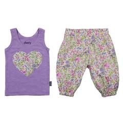 Violet Floral Harems and Singlet Set