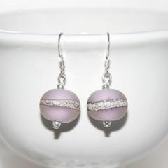 Matte Pink Organic Lampwork Glass Bead Sterling Silver Earrings