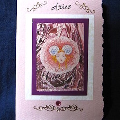 Aries Birthday Card on Pink Handmade Paper
