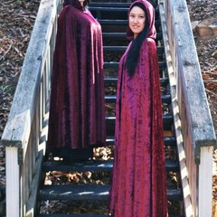 Medium Length Burgundy Velour Cloak
