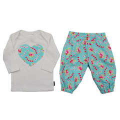 Blue Floral Harems and Long Sleeve Tee Set