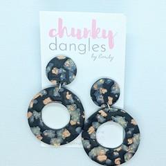 Polymer Clay Black Terrazzo Donut Stud Dangle Earrings