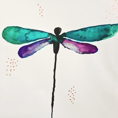 Original dragonfly watercolour painting